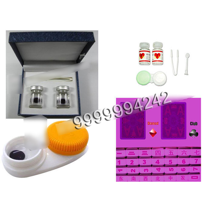 Dark Purple Invisible Ink And Glasses Level Poker Contact Lenses