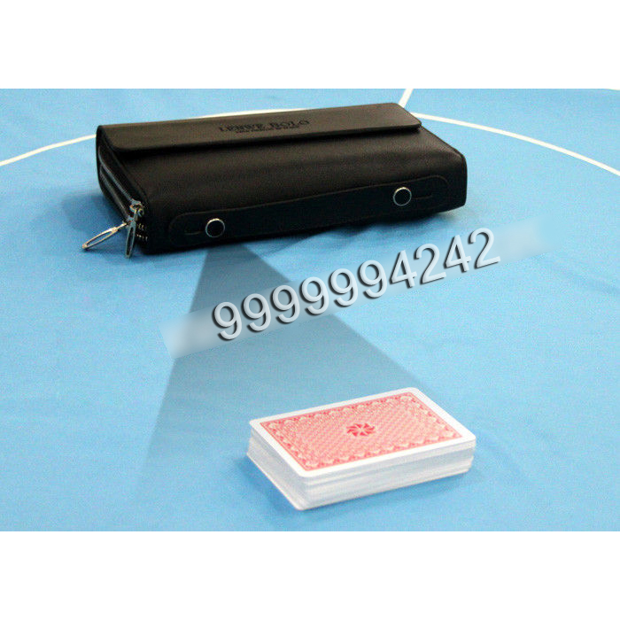 Mans Leather Wallet Camera Poker Scanner To Scan Marked Poker Cards Bar Codes
